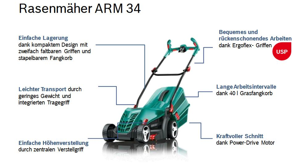 bosch rasenm her arm 34 mit 1300 watt powerdrive motor. Black Bedroom Furniture Sets. Home Design Ideas